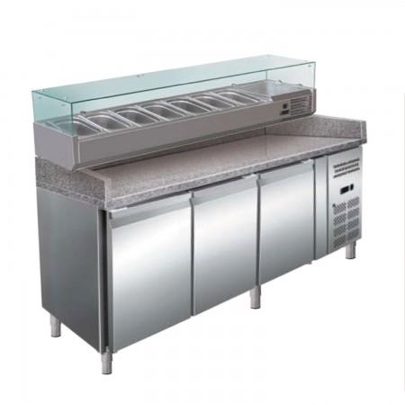 Banc refrigerat pentru pizza, capacitate neta 635 litri, temperatura de lucru +2°C/+8°C, alimentare 220V