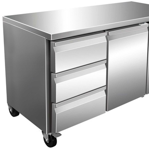 Masa rece, 1 usa si 3 sertare, capacitate 314 litri, dimensiuni 1360x700x860mm