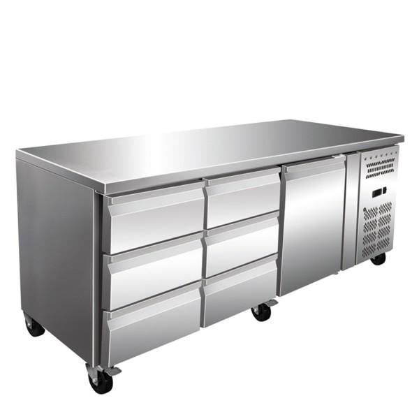 Masa rece, 1 usa si 6 sertare, capacitate neta 465 litri, dimensiuni 1795x700x860mm