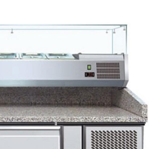 Banc refrigerant pentru pizza, capacitate neta 428 litri, temperatura de lucru +2°C/+8°C, display digital temperatura, alimentare 220V
