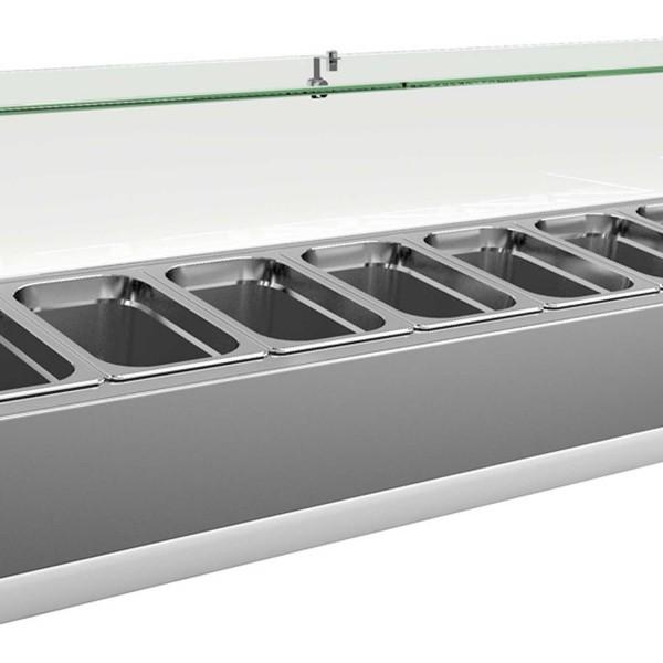 Vitrina de ingrediente, inox, capacitate 7 cuve GN1/4, gaz refrigerant R134a, capacitate 44 litri